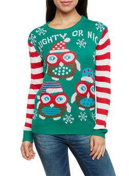 Striped Sleeve Sweater with Naughty or Nice Owl Print - 3020038346160