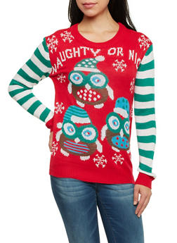 Striped Sleeve Sweater with Naughty or Nice Owl Print - RED - 3020038346160
