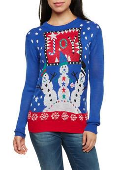 Crew Neck Sweater with Joy Snowmen Graphic - BLUE - 3020038346161