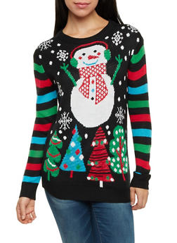 Snowman Sweater with Striped Long Sleeves - 3020038346162