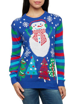 Snowman Sweater with Striped Long Sleeves - BLUE - 3020038346162