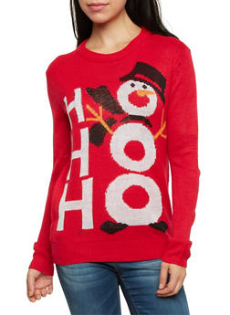 Crew Neck Sweater with Snowman Graphic - RED - 3020038346167