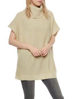Oversized Tunic Sweater with Cowl Neck - 3020038346193