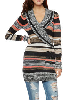 Striped Tunic Sweater with Wrap Front - 3020038346305