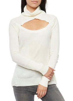 Turtleneck Sweater with Cutout - 3020038346421