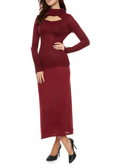 Turtleneck Sweater with Cutout - BURGUNDY - 3020038346421