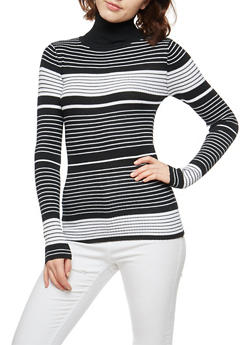 Stripe Ribbed Knit Turtleneck Sweater - 3020038346444