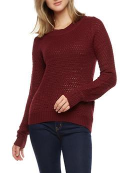 Long Sleeve Knit Sweater - WINE - 3020038347107