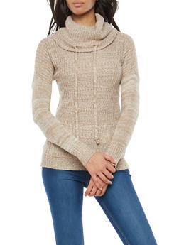 Two Tone Knit Cowl Neck Sweater - 3020038347109