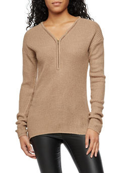 V Neck Half Zip Knit Sweater - 3020038347110