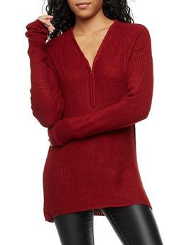 V Neck Half Zip Knit Sweater - 3020038347110