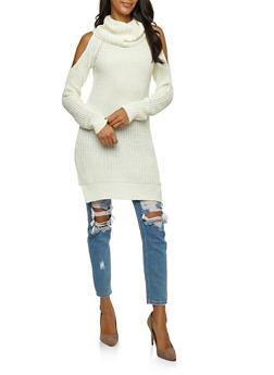 Cold Shoulder Cowl Neck Sweater - IVORY - 3020038347111