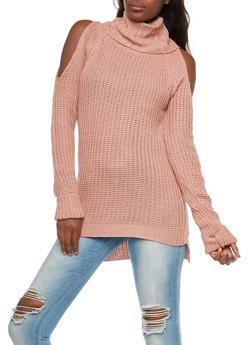Cold Shoulder Cowl Neck Sweater - MAUVE - 3020038347111