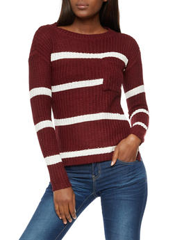 Front Pocket Striped Knit Sweater - 3020038347112