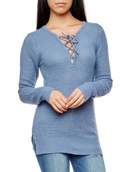 Long Sleeve Lace Up Sweater - 3020038347113