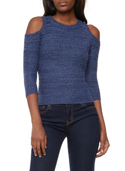 Two Tone Knit Cold Shoulder Sweater - 3020038347114