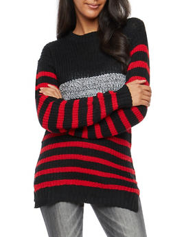 Striped Long Sleeve Sweater - 3020038347115