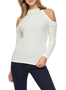Long Sleeve Cold Shoulder Sweater - IVORY - 3020038347117