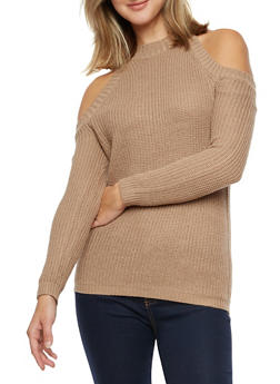 Long Sleeve Cold Shoulder Sweater - 3020038347117