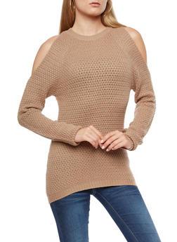 Cold Shoulder Knit Sweater - 3020038347118