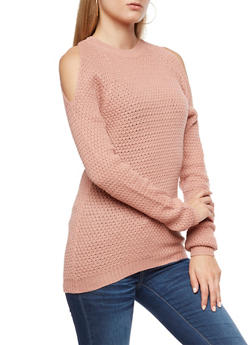 Cold Shoulder Knit Sweater - 3020038347118