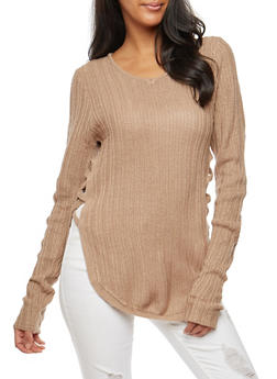 Long Sleeve Lace Up Side Sweater - 3020038347119