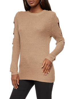 Open Sleeves Knit Sweater - 3020038347121