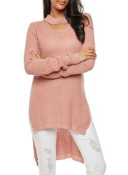 Long Sleeve High Low Choker Neck Sweater - MAUVE - 3020038347122