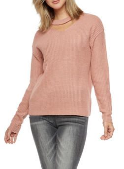 Choker Neck Knit Sweater - 3020038347123