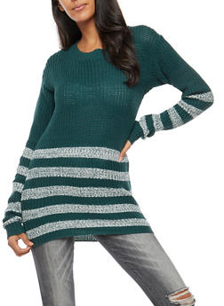 Striped Knit Tunic Sweater - 3020038347124