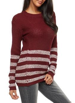 Striped Knit Tunic Sweater - 3020038347124