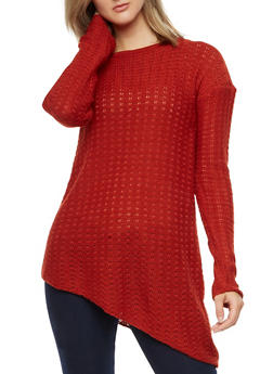 Long Sleeve Asymmetrical Sweater - 3020038347125