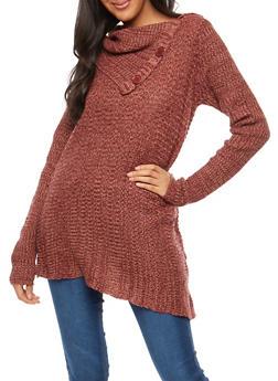 Long Sleeve Button Neck Sweater - BURGUNDY - 3020038347126