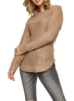 Crew Neck Knit Sweater - 3020038347127