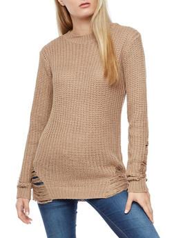 Chunky Knit Sweater with Slashed Details - 3020038347128