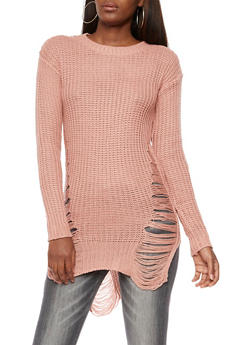 Ripped Knit High Low Sweater - 3020038347129