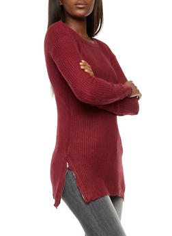 Long Sleeve Solid Zip Side Sweater - 3020038347130