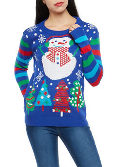 Striped Sleeve Snowman Graphic Sweater - 3020038347162