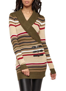 Striped Faux Wrap Front Sweater - 3020038347301