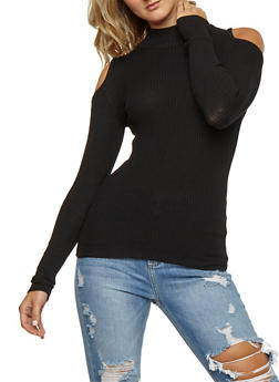 Ribbed Knit Cold Shoulder Long Sleeve Top - 3020038347429