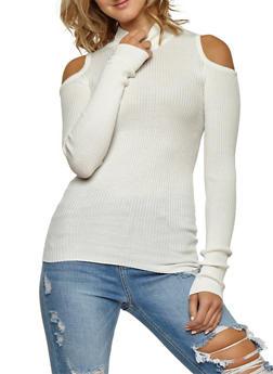 Ribbed Knit Cold Shoulder Long Sleeve Top - IVORY - 3020038347429