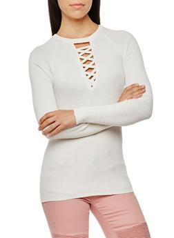 Rib Knit Caged V Neck Sweater - IVORY - 3020038347430