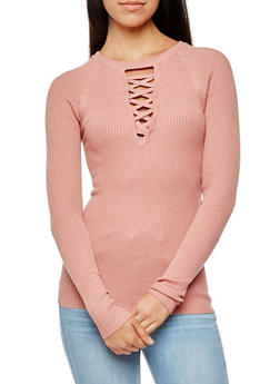 Rib Knit Caged V Neck Sweater - 3020038347430