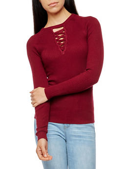Rib Knit Caged V Neck Sweater - 3020038347430