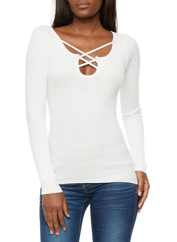 Ribbed Knit Long Sleeve Top - IVORY - 3020038347431