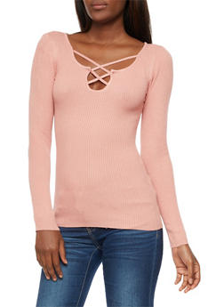 Ribbed Knit Long Sleeve Top - 3020038347431