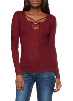 Ribbed Knit Long Sleeve Top - WINE - 3020038347431