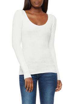 Caged Back Ribbed Knit Top - IVORY - 3020038347432