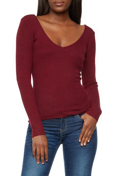 Caged Back Ribbed Knit Top - WINE - 3020038347432
