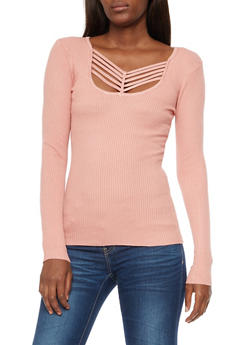 Caged Front Ribbed Knit Top - 3020038347433